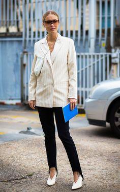 Striped blazer + stirrup pants + white booties