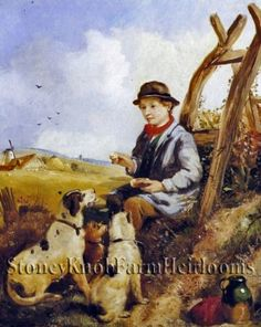 The Young Farmhand ~ Dogs ~ Counted Cross Stitch Pattern #StoneyKnobFarmHeirlooms #CountedCrossStitch