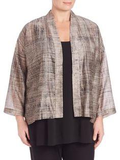 Eileen Fisher, Plus Size - Cropped Cotton & Silk Kimono Jacket