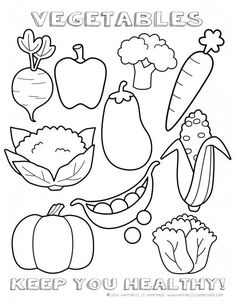 Printable Healthy Eating Chart Coloring Pages Vegetables