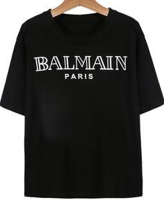Shop Black Short Sleeve BALMAIN Print T-Shirt online. Sheinside offers Black Short Sleeve BALMAIN Print T-Shirt & more to fit your fashionable needs. Free Shipping Worldwide! | $9