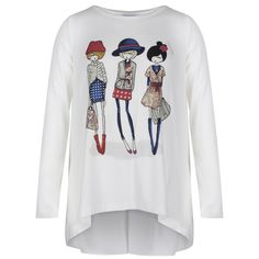 Monnalisa Girls Off-White Long Sleeved T-Shirt with Lady Cartoon Print