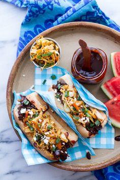Grilled Korean BBQ Short Rib Dogs w-Sweet Peach Relish + Spicy Korean Slaw