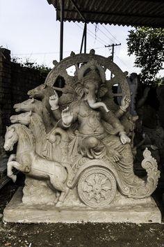 Ganesh idol with Ganesh on a chariot Ganesh Lord, Sri Ganesh, Clay Ganesha, Ganesha Art, Ganesha Pictures, Ganesh Images, Krishna, Ganesh Photo, Ganesh Chaturthi Images