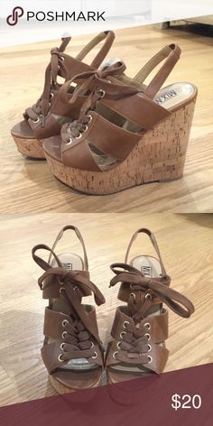 Super cute beige wooden heel wedges!! From MIX No.6. Wedge heeled shoes. 5inches on the back with 2inches of support in the front so you won't fall! Wooden heels so super cute for vacations. Shoes Wedges