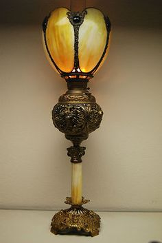Antique Old Oil Kerosene Slag Glass Victorian Jeweled Shade Banquet Gwtw  Lamp