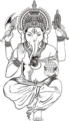 Make this Ganesha Chathurthi 2020 special with rituals and ceremonies. Lord Ganesha is a powerful god that removes Hurdles, grants Wealth, Knowledge & Wisdom. Ganesha Sketch, Ganesha Drawing, Ganesha Tattoo, Lord Ganesha Paintings, Ganesha Art, Outline Drawings, Art Drawings, Elefante Tattoo, Elefante Hindu
