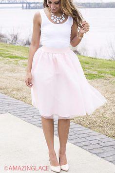The Bradshaw Pink Midi Length Net Tulle Skirt