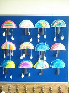 Çocuklarla yapılabilecek minik şemsiyeler - Anasınıfı ve okul öncesi çocuklar için çok cici bir etkinlik. by mindy