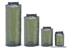 Web-tex Ultra Lightweight Dry Sacks - Olive Green Waterproof PVC polyester roll top sealing system with buckle fastening and clear view panel 2 5 ltr