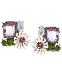 Betsey Johnson Rose Gold-Tone Faceted Bead and Flower Button Stud Earrings