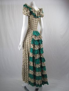 Vintage 1940's COTTON RUFFLED DRESS Long by regenerationclothing, $999.00