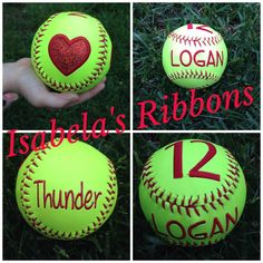 personalized embroidered softballs (baseballs too) great gifts for the softball lover, baseball coach, super fan, someone you love