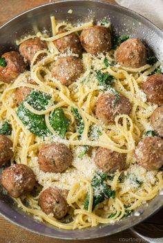 Garlic Olive Oil Pasta with Meatballs and Spinach is a delicious pasta recipe without red sauce. Serve up this filling and satisfying meal in less than 30 minutes! Yummy Pasta Recipes, Meat Recipes, Cooking Recipes, Healthy Recipes, Drink Recipes, Dishes Recipes, Delicious Dishes, Dinner Dishes, Pasta Dishes