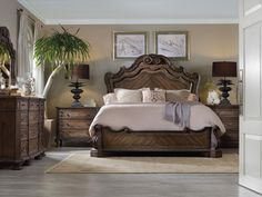 Rhapsody California King Size Panel Bed with Grandiose Scroll Detailing by Hooker Furniture at Fisher Home Furnishings Hooker Furniture, Bedroom Furniture Sets, Bedroom Decor, Bed Furniture, Furniture Stores, Mirror Bedroom, Bedroom Curtains, Cheap Furniture, Luxury Furniture