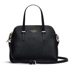 Rental kate spade new york accessories Black Cedar Street Maise... ($45) ❤ liked on Polyvore featuring bags, handbags, shoulder bags, purses, black, black handbags, black shoulder bag, black satchel handbag, leather satchel bag and black leather handbags