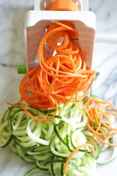Spiralized Carrots and Cucumber | Tasty. Dressing way too spicy. Makes too much slaw. Much easier to order Vietnamese!