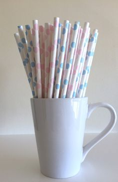 Pink and Blue Paper Straws Pale Pink and Light Blue Polka Dot Gender Reveal Party Supplies Party Decor Bar Cart Accessories Cake Pop Sticks
