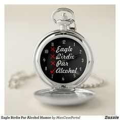 Eagle Birdie Par Alcohol Humor Pocket Watch Personalized Pocket Watch, Alcohol Humor, Golf Accessories, Personal Shopping, Make A Gift, Cool Watches, Keep It Cleaner, Eagle, Quartz