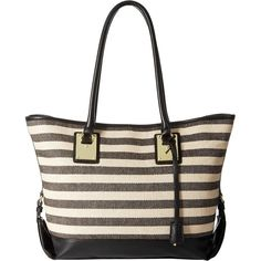 London Fog Manchester Tote (Black/Stripe Linen) Tote Handbags (705 ZAR) ❤ liked on Polyvore featuring bags, handbags, tote bags, beige, summer handbags, striped tote, london fog handbags, striped tote bag and handbags totes