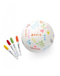 Send a volleyball that does double duty as a sport and  as a keepsake. Throw in a few Sharpies so friends and bunkmates can  autograph or decorate it after the game is over.Wilson Soft Play Outdoor Volleyball ball, $15.23,  AmazonSharpie Water-Based Paint Markers, Set of 5, $13.06, DickBlick