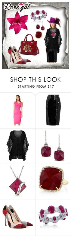 """""""Rose gal"""" by ljiljanabanovic ❤ liked on Polyvore featuring Black Halo, Topshop Unique, Ice, Miadora, Anne Sisteron and Gianvito Rossi"""