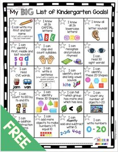 Kindergarten Goal Chart - FREEBIE — Keeping My Kiddo Busy Happy New Year! A new year means new goals! My new incentive kit has gotten my students SO excited about mastering their kindergarten standards! Kindergarten Report Cards, Kindergarten Assessment, Kindergarten Readiness, Homeschool Kindergarten, Kindergarten Year Plan, Syllables Kindergarten, Homeschooling, Kindergarten Center Rotation, Learn To Read Kindergarten