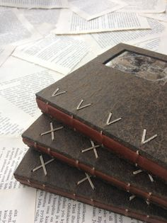 Coptic bound books with Finnish reindeer leather spines - paperiaarre.com