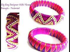 How to make Silk Thread Zig Zag Bangle Knotted Style - YouTube