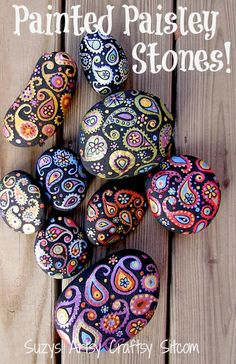paisley painted stones tutorial. She recommends final coat of Matte Mod Podge and then suggests placing outdoors. Be sure to seal with Matte Acrylic or some other outdoor proof sealer before installing outdoors!