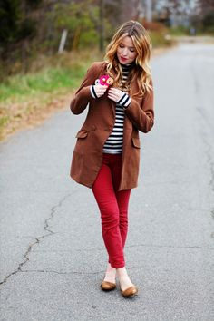 Love this! Brown jacket, striped turtleneck, and orange skinnies.