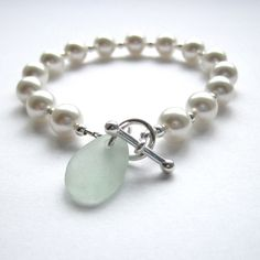 Freshwater Pearl and Sea Glass Bracelet