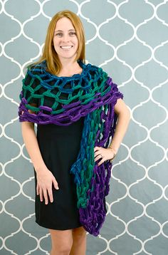 Premier Yarns Starbella Flash Arm Knit Evening Wrap #armknitting