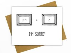Apology Card / Fucked Up / Undo / Nerdy / I'm Sorry for PC by HellaFresh Designs on Etsy