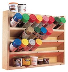 Spray Can Storage - The Woodworker's Shop - American Woodworker.  What a great idea. The same could be made for your craft acrilic paintsif you don't keep them in a palstic carrier.   l