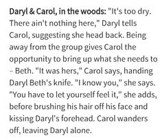 Daryl and Carol in the woods