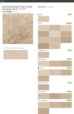 """Continental Slate Floor or Wall Porcelain Tile 6"""" x 6"""" (11 sq.ft/pkg). Glass Tile. Flooring & Rugs. Menards. Olympic. Behr. Benjamin Moore. PPG Pittsburgh. Dutch Boy. Ralph Lauren Paint. Valspar Paint. Sherwin Williams.  Click the gray Visit button to see the matching paint names."""