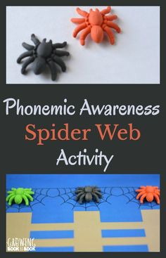 Phonemic awareness activity to work on segmenting with a spider theme twist. Includes a free printable to use for the activity. Emergent Literacy, Preschool Literacy, Classroom Activities, Learning Activities, Language Activities, Fun Learning, Classroom Ideas, Halloween Theme Preschool, Halloween Books