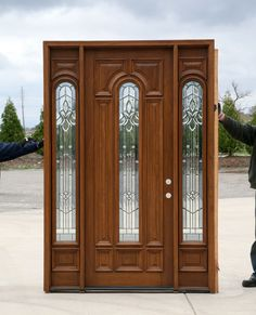 exterior doors with sidelights prehung mahogany exterior wood door with glass windows solid mahogany wood doors for all climates & I like the warmth of this wood; I also like the glass; not too much ...