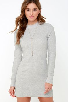 Mink Pink Ultimate Light Grey Long Sleeve Dress at Lulus.com!