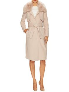 Wool Trimmed Collar Coat from Halston Heritage on Gilt
