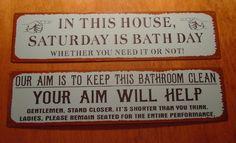 primitive sign   ... Vintage Rustic Blue Bathroom Country Primitive Home Decor Signs FUNNY