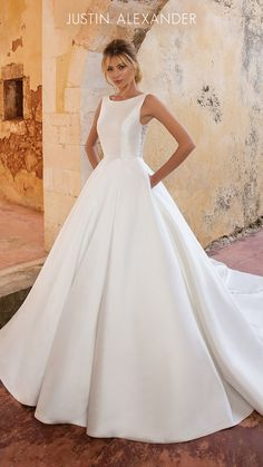 2a9527d49c6 Style 88038  Clean Mikado Ball Gown with Crystal Buttons Princess Wedding  Dresses