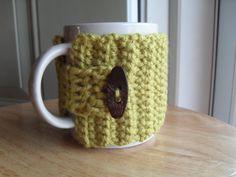 crocheted coffee mug cozy tea mug cozy mug wrap in pea green. $11.00, via Etsy.