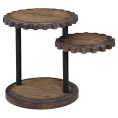 An eye-catching addition to your living room or den, this stylish accent table showcases a sprocket-inspired design and swing-out lower top.  ...