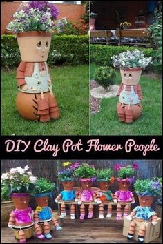 Idea Of Making Plant Pots At Home // Flower Pots From Cement Marbles // Home Decoration Ideas – Top Soop Clay Flower Pots, Flower Pot Crafts, Clay Pot Crafts, Diy Clay, Diy Crafts, Decor Crafts, Flower Pot People, Clay Pot People, Painted Clay Pots