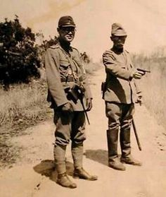 Uniforms of Imperial Japan Japanese army officer posing with his Nambu pistol (South China Last Emperor Of China, Meiji Restoration, Warring States Period, Imperial Japanese Navy, Evil Empire, Japanese Sword, Army & Navy, Korean War, Military History
