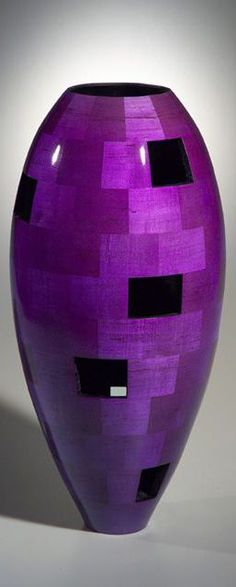 Tall Vase with Random Missing segments - by Joel Hunnicutt, Wood Artist ~ Purple Rain, Deep Purple, Purple And Black, Pink Purple, Purple City, Color Black, Purple Home, Big Vases, All Things Purple