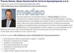 """Vortrag Thomas Wehner, MEDAC; auf dem """"Update Information Management 2016"""" in Hamburg"""
