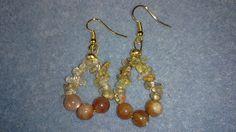 Sunstone and golden rutile quartz chips hoop earrings www.facebook.com/KimsGlitteringGems